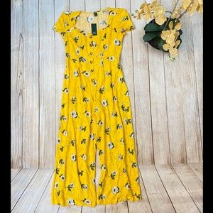 Wild Fable Mustard Floral Button Up Romper Large